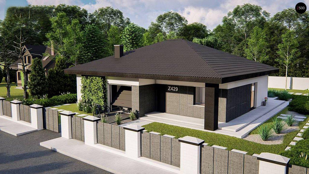Функциональный одноэтажный дом с гаражом на одну машину, расположенный в центральной части переднего фасада. 1