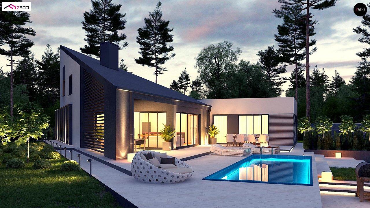 Проект современного дома с вторым светом, стильной кровлей и удобной планировкой. 3