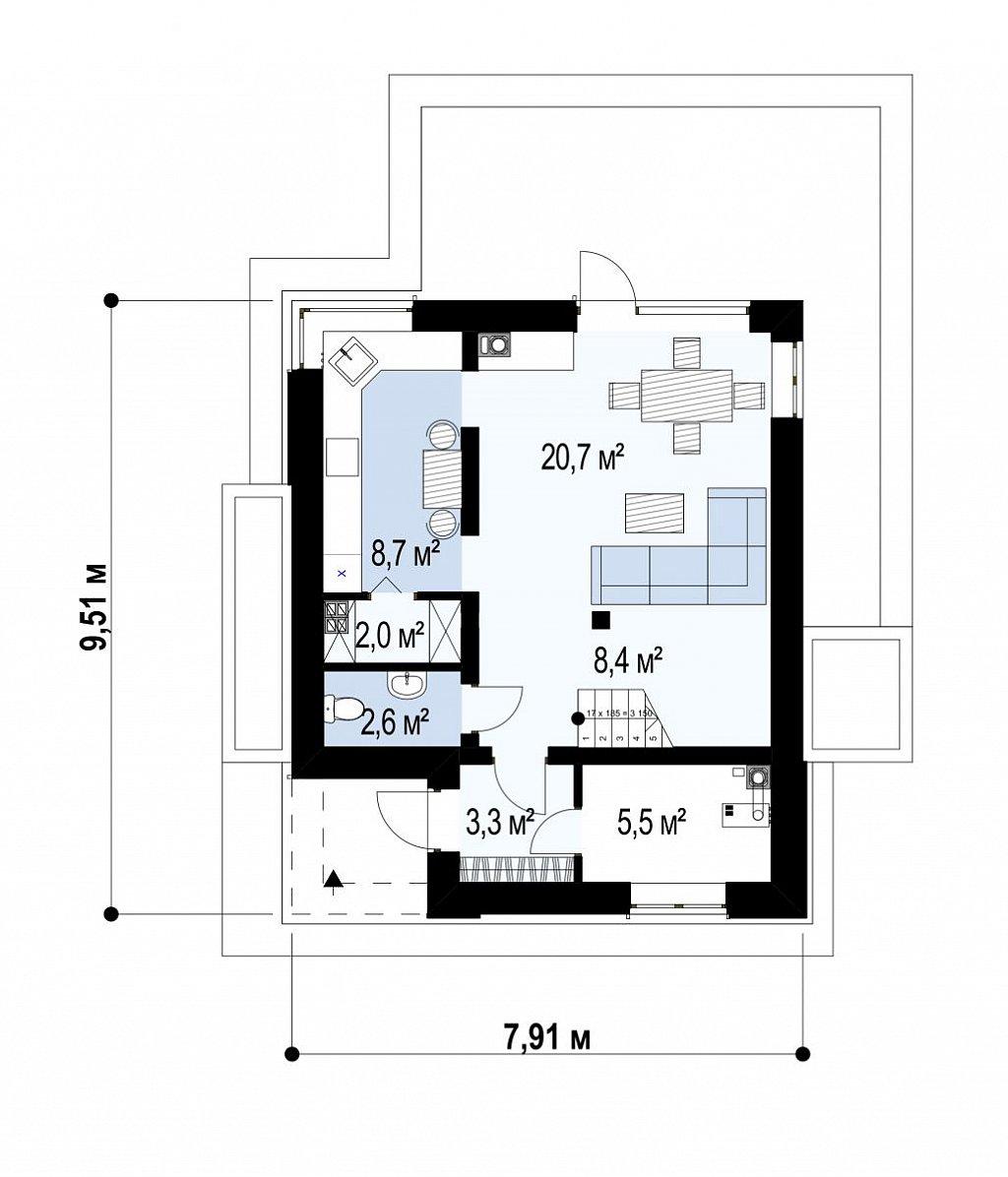 Современный двухэтажный дом с практичной планировкой план помещений 1