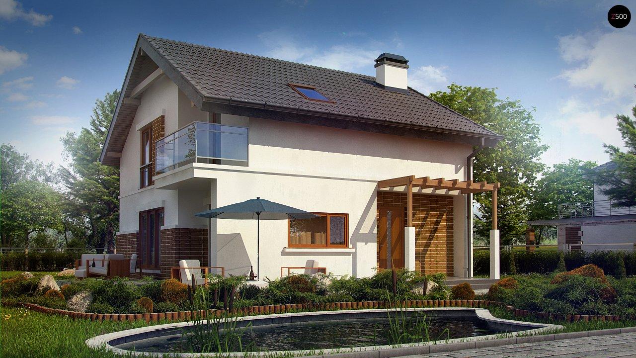 Проект дома с мансардой, с высокой аттиковой стеной, с дополнительной комнатой на первом этаже. 2