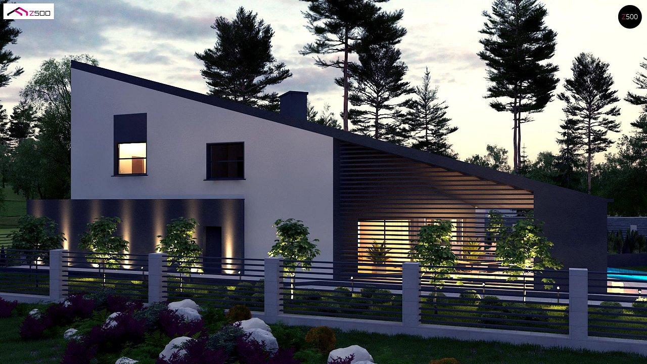 Проект современного дома с вторым светом, стильной кровлей и удобной планировкой. 4