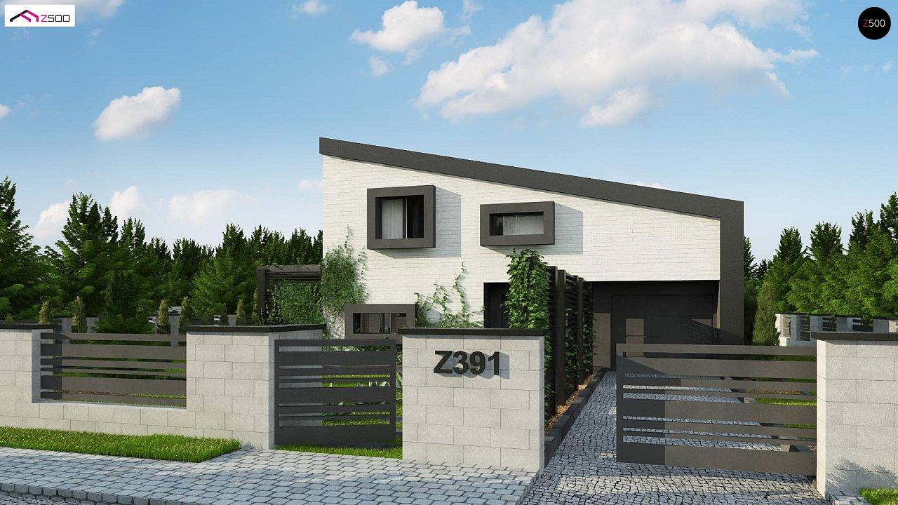 Проект двухэтажного дома с открытой дневной зоной и современным экстерьером. 5