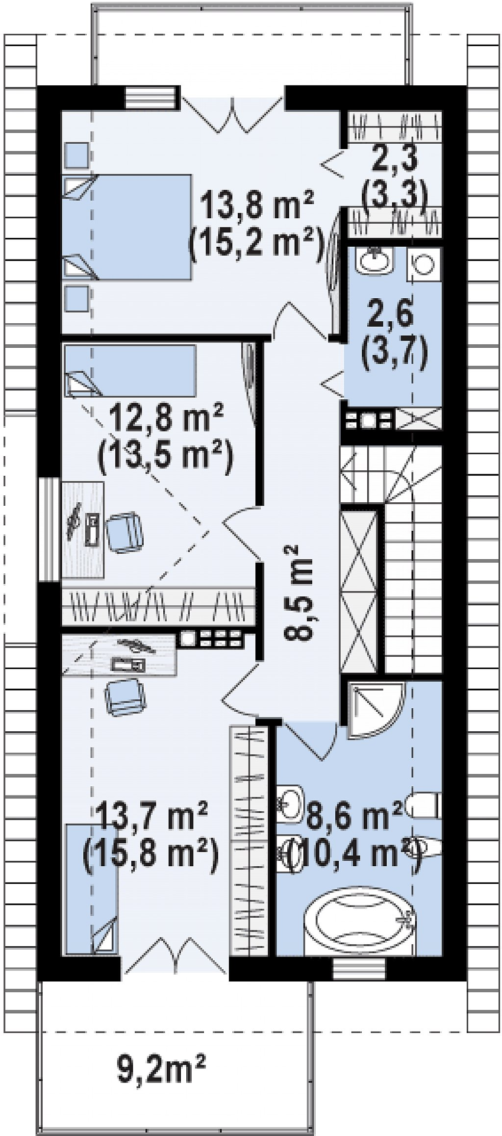 Функциональный и привлекательный дом с гаражом для узкого участка. план помещений 2