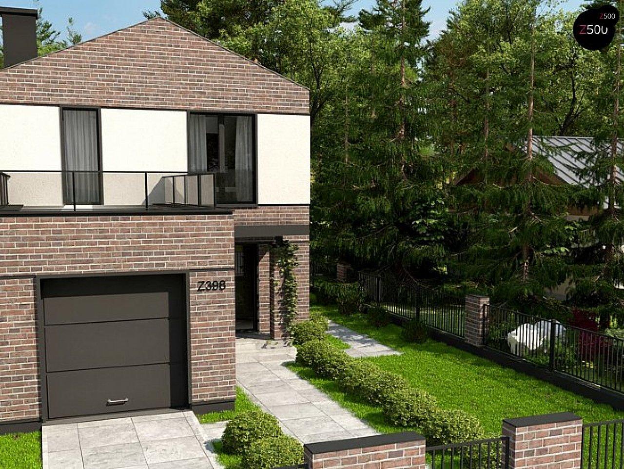 Проект компактного современного дома с двухуровневой планировкой и гаражом на один автомобиль. 1