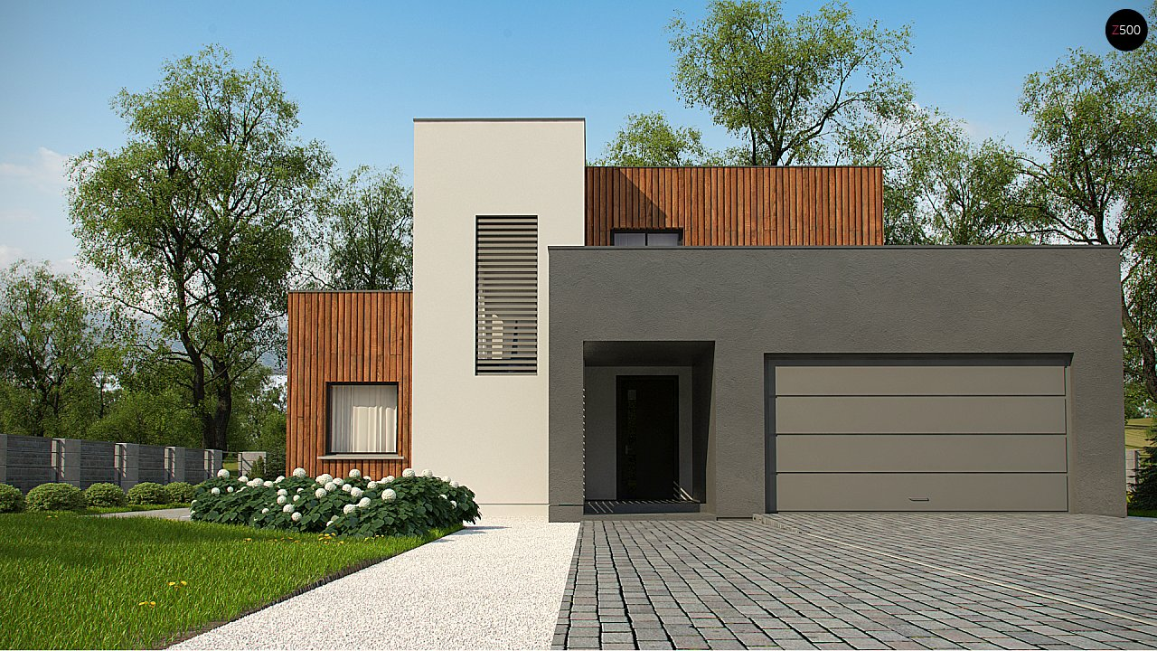 Современный дом с гаражом на 2 машины и террасой на первой 2