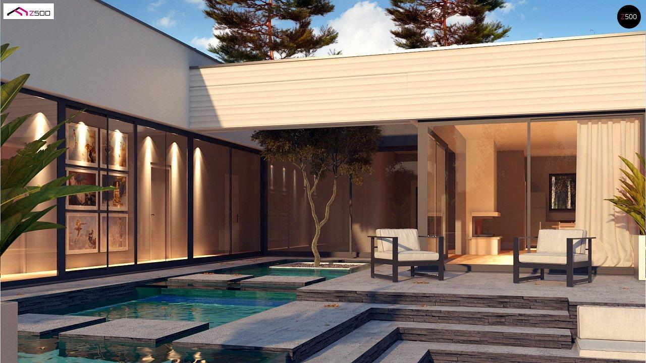 Одноэтажный дом в современном стиле с гаражом на 3 машины, с плоской кровлей 5