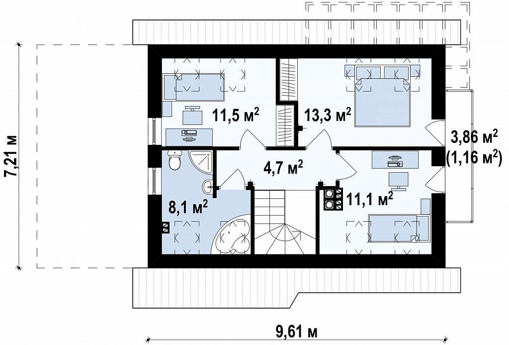 Экономичный в строительстве и реализации дом с удобной планировкой, с навесом для автомобиля. план помещений 2