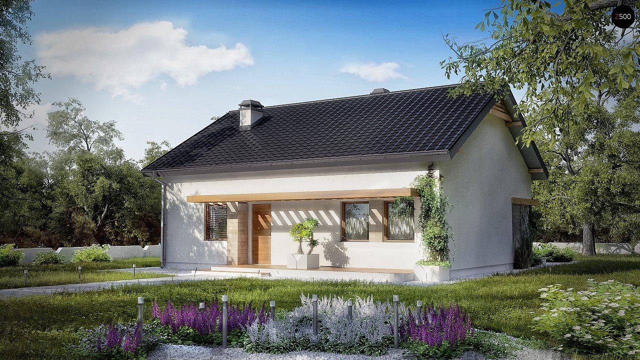 Проект небольшого практичного одноэтажного дома. Есть возможность обустройства чердачного помещения. 2