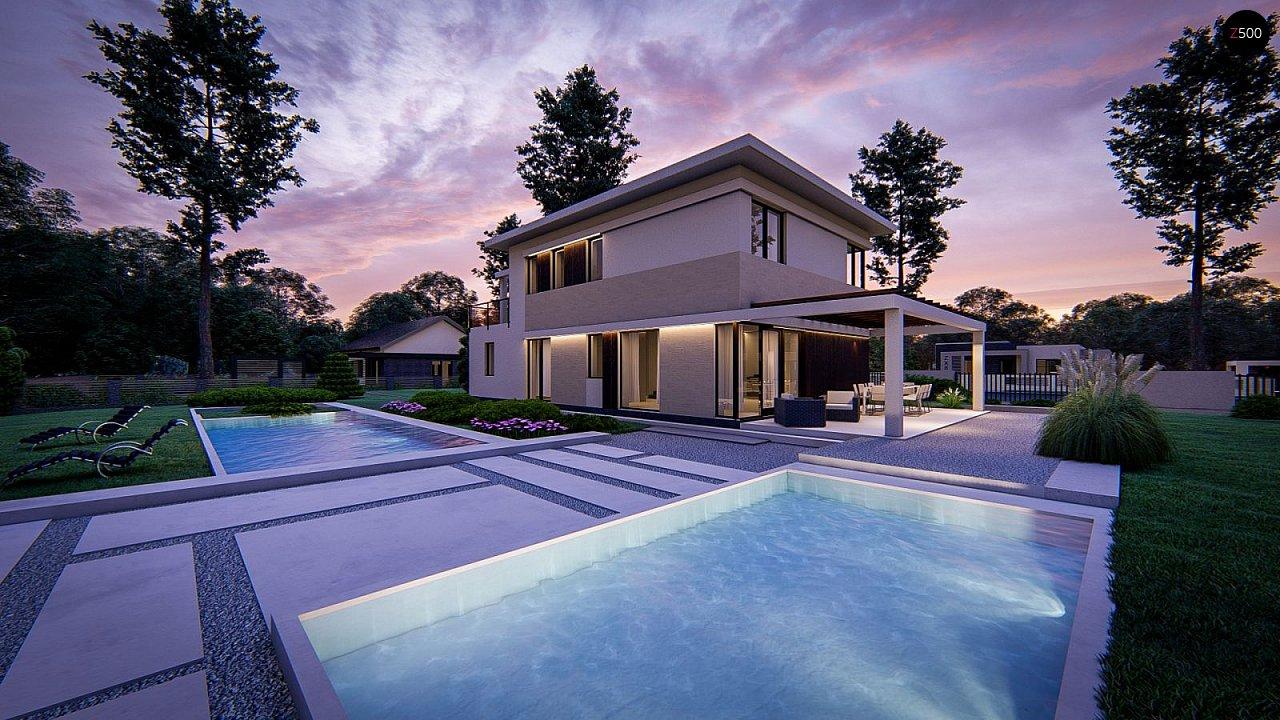 Современный двухэтажный проект дома с навесом - фото 4