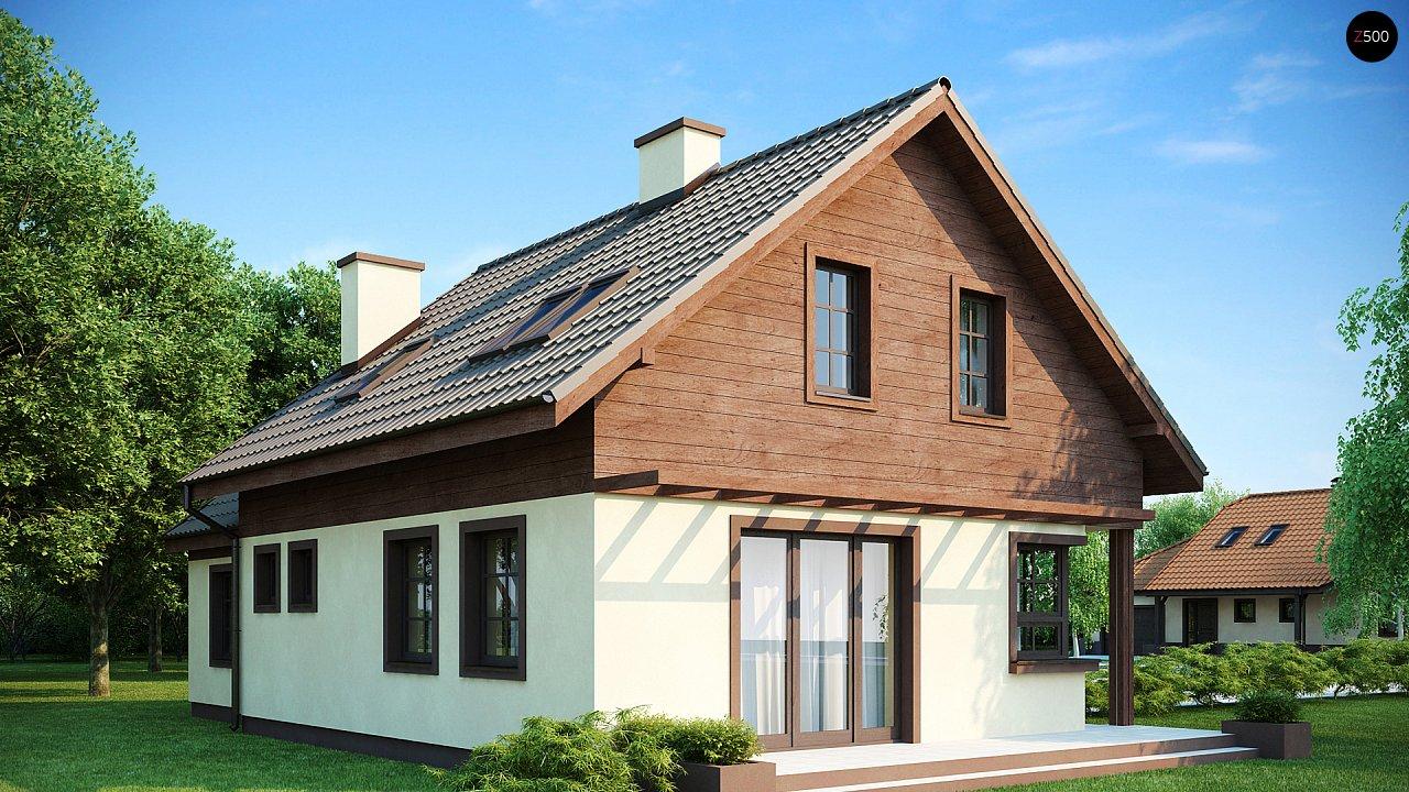 Практичный дом с гаражом, с красивым мансардным окном и боковой террасой. 2