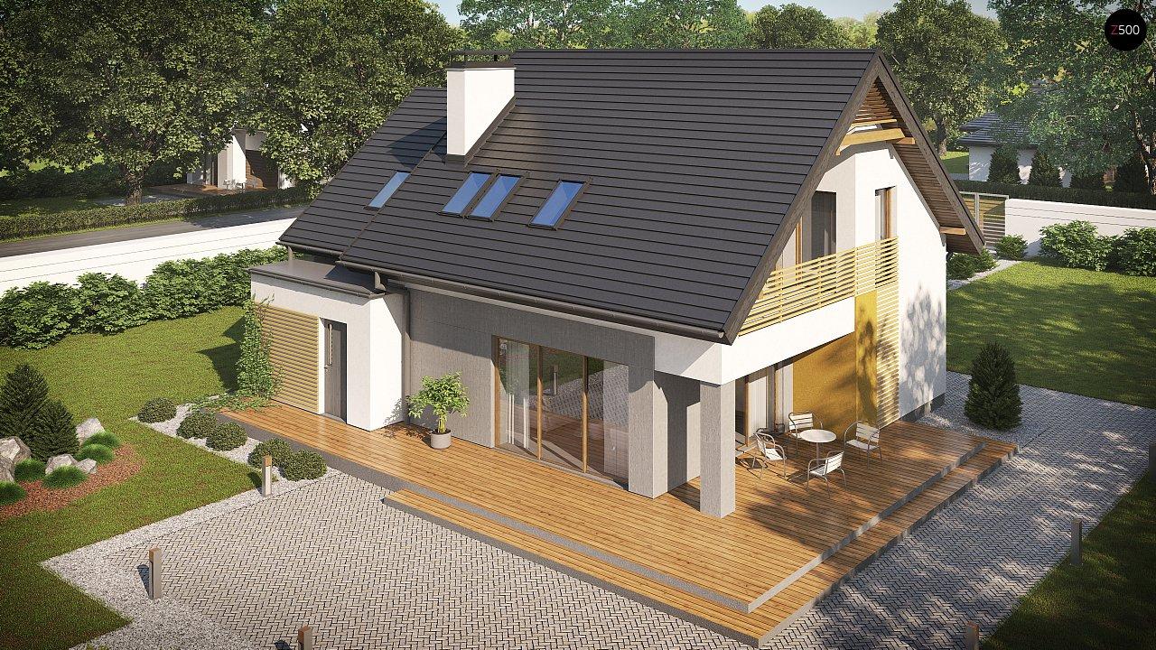 Проект аккуратного мансардного дома, с современным дизайном фасадов. 5