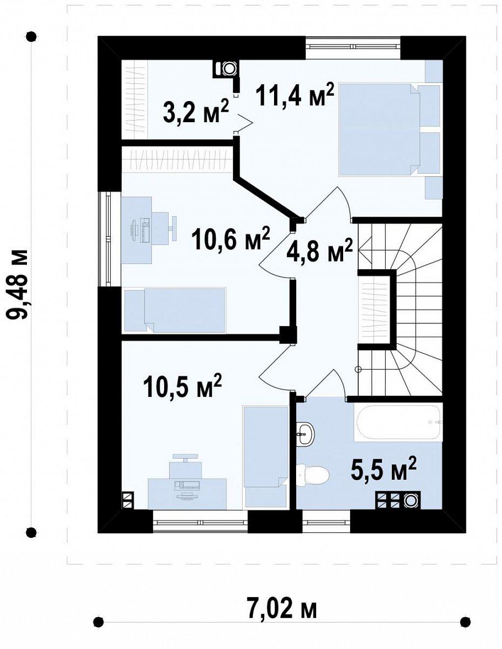 Вариант проекта Z297 с фронтальным гаражом, с изменениями в планировке. план помещений 2