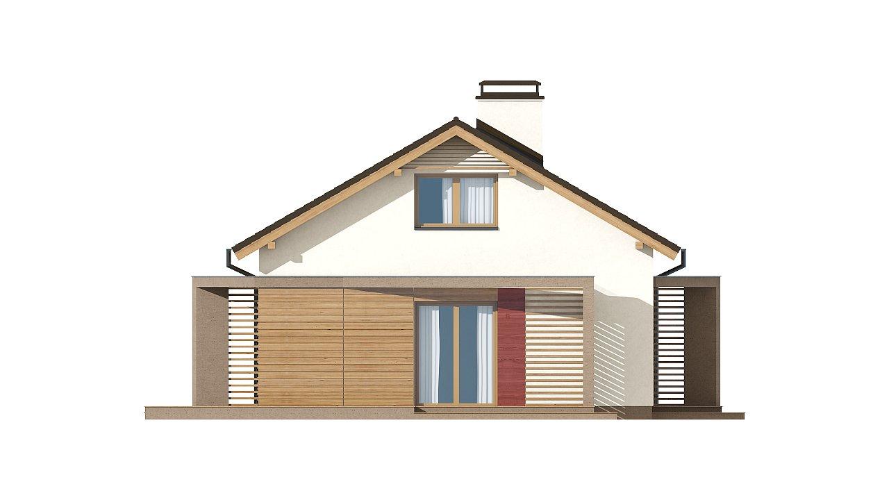 Небольшой одноэтажный дом с оригинальным оформлением террас. 18
