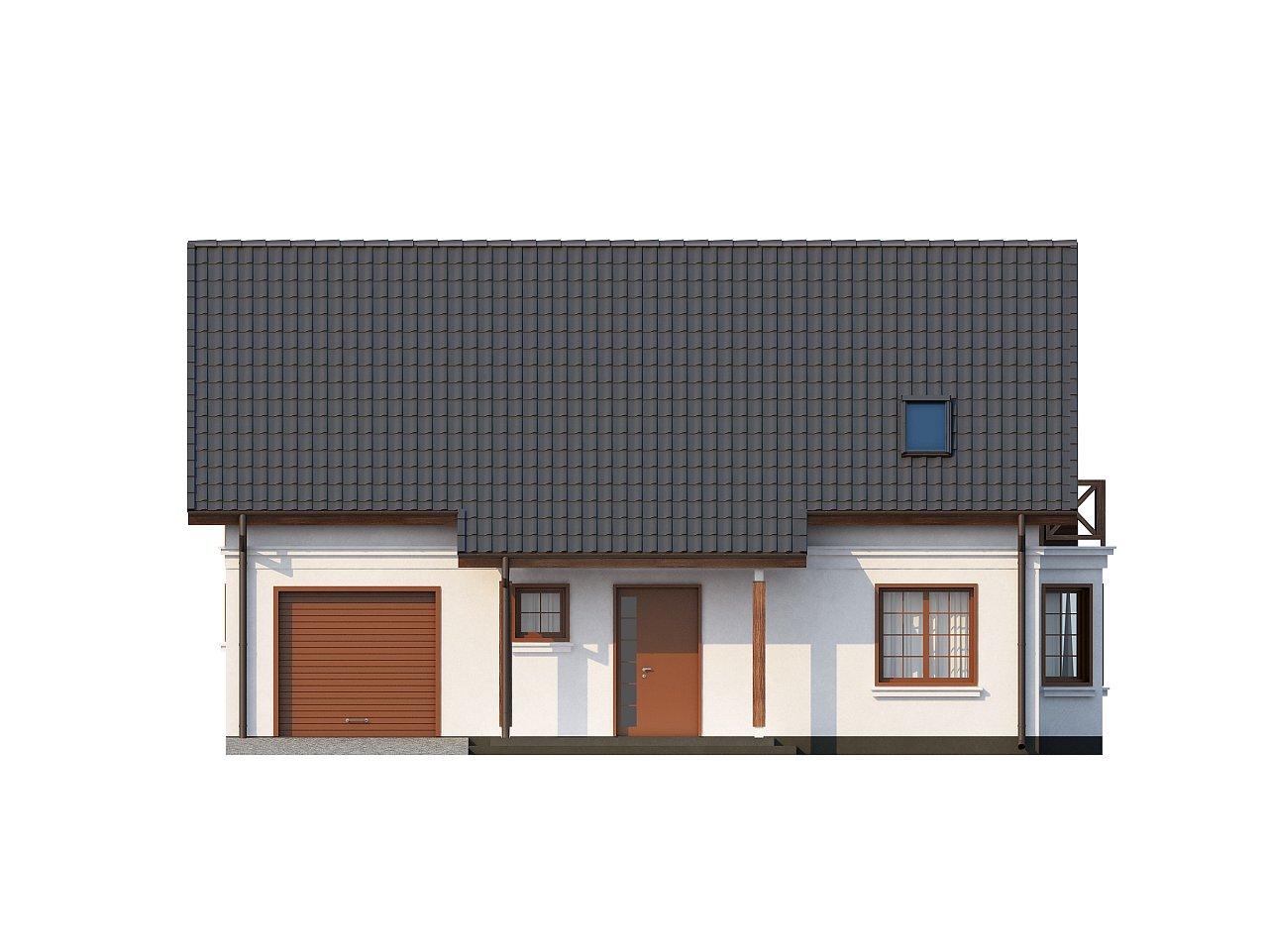 Элегантный дом простой формы со встроенным гаражом, эркером и балконом над ним. 11