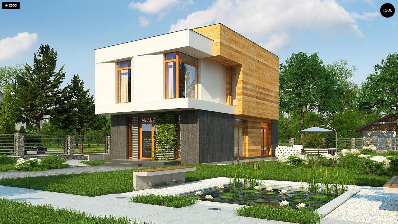 Проект двухэтажного дома в стиле кубизм, подходит для строительства на узком участке. - фото 2