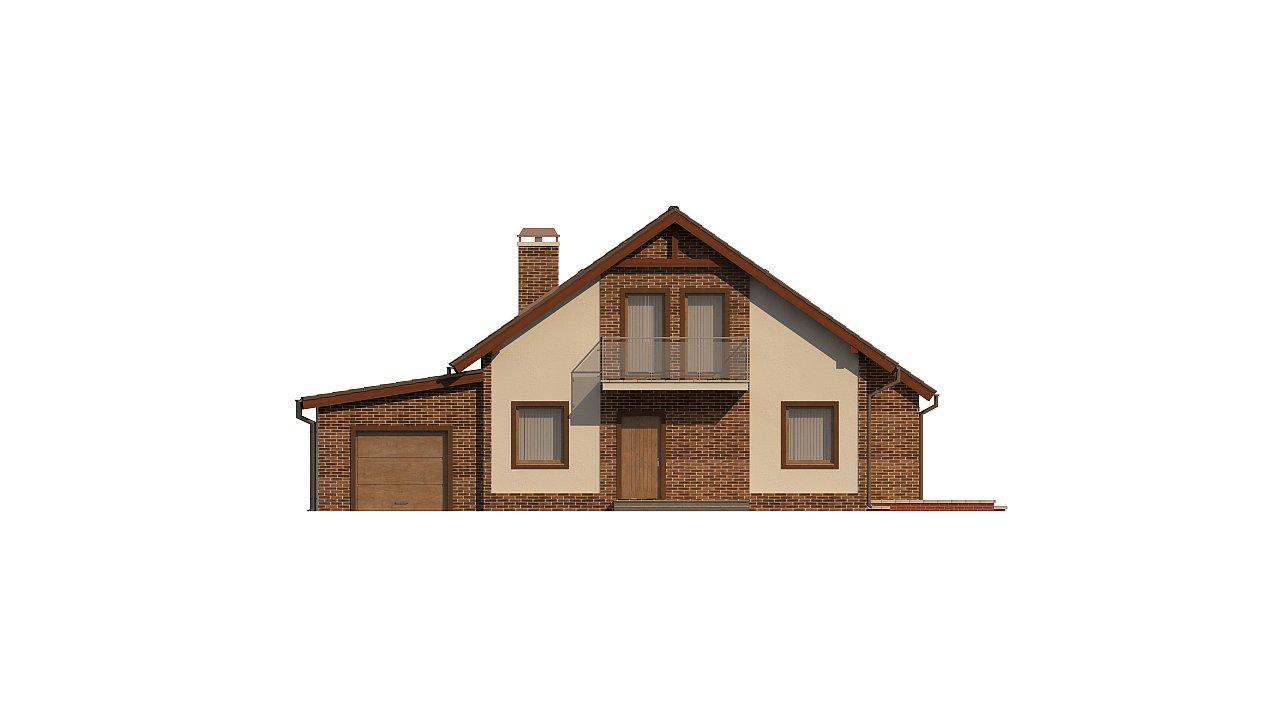 Проект мансардного дома - вариант Z63 c внесенными изменениями в планировку и гаражом для 1 авто 2
