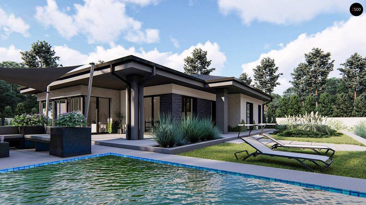 Cовременный одноэтажный дом с многоскатной крышей и гаражом на две машины. 6