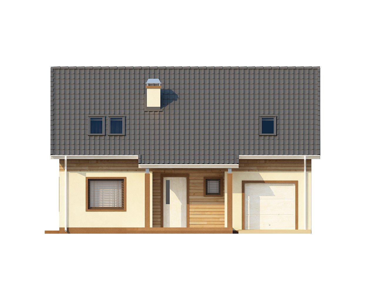 Проект традиционного дома с мансардой, со встроенным гаражом. 3