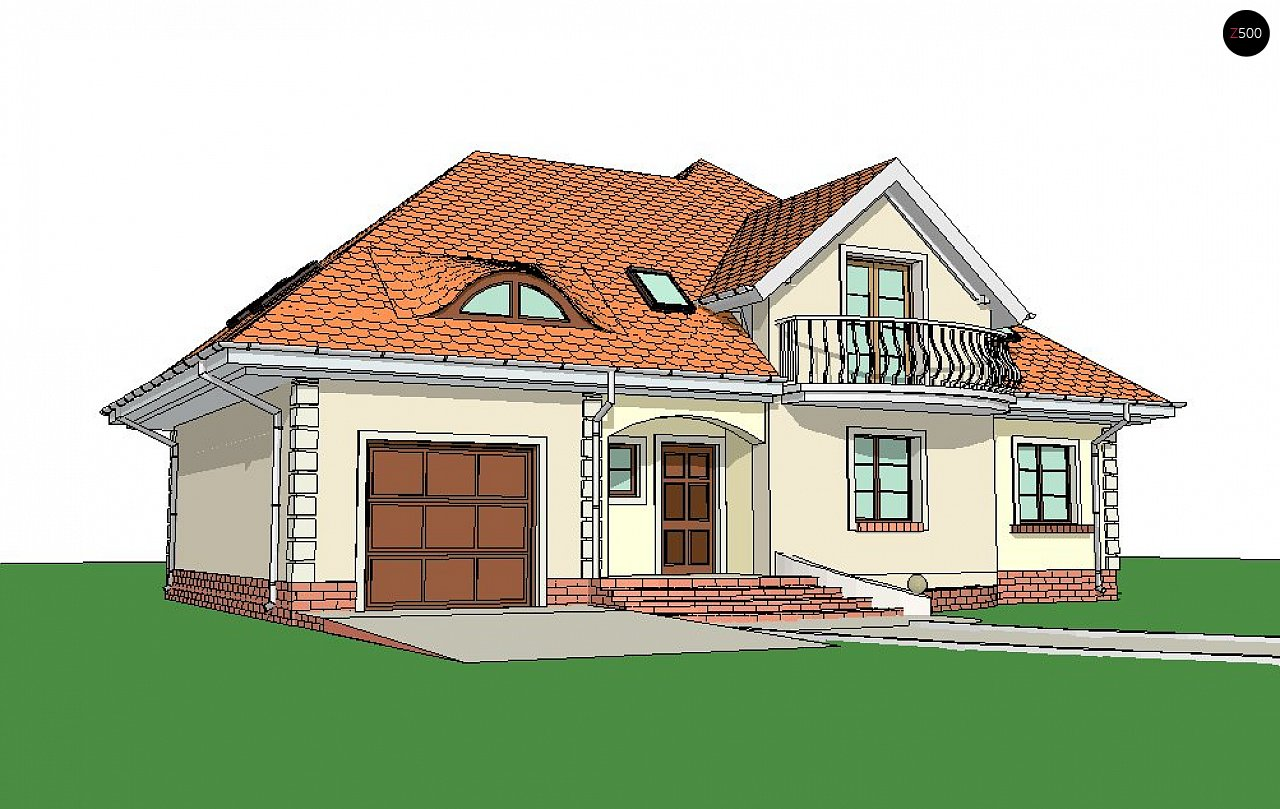 Версия проекта Z18 со встроенным гаражом с левой стороны дома - фото 3
