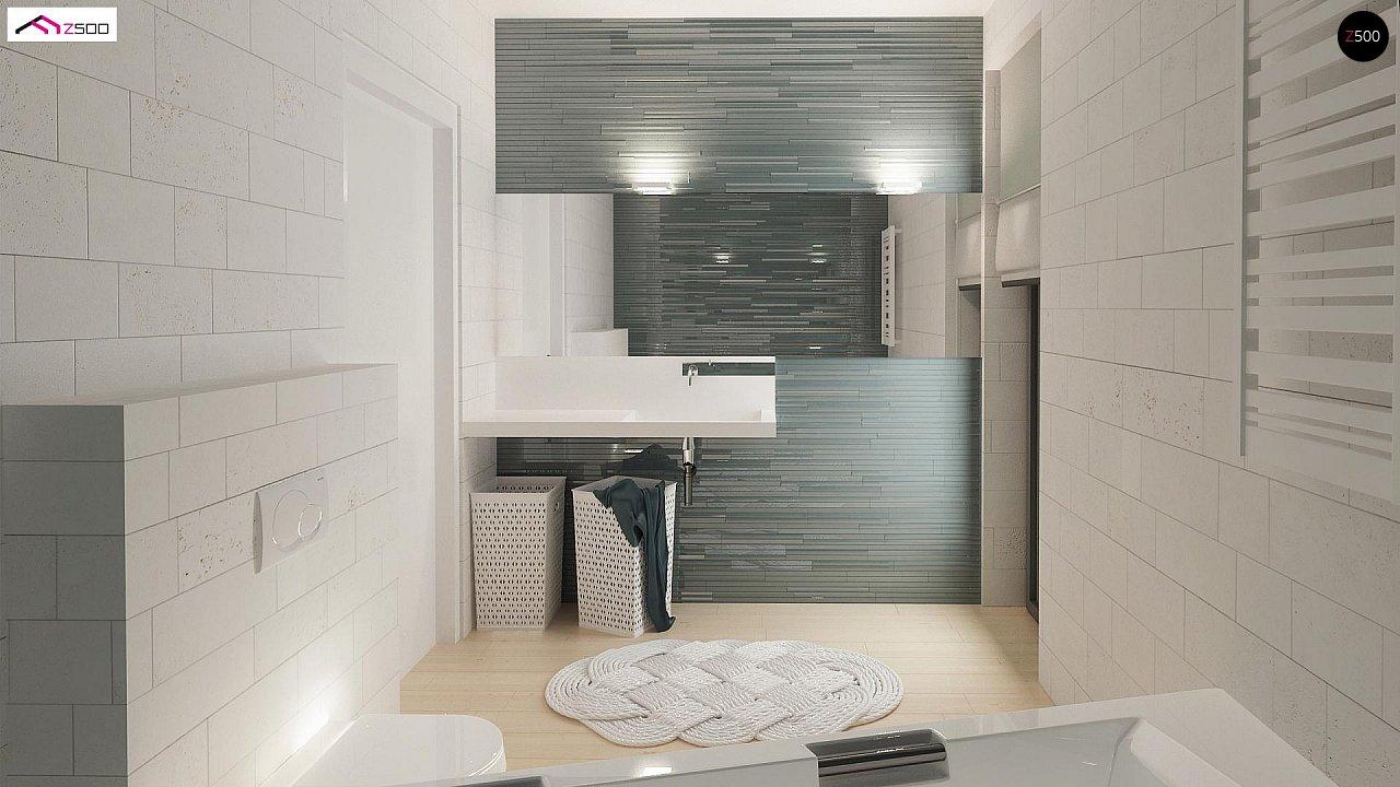 Проект одноэтажного дома Z390 с гаражом на 1 машину и красивым белым фасадом 14