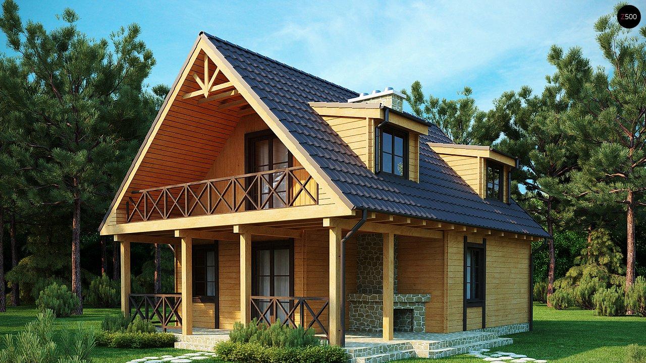Компактный дом с мансардой, с крытой террасой и внешним камином. 1