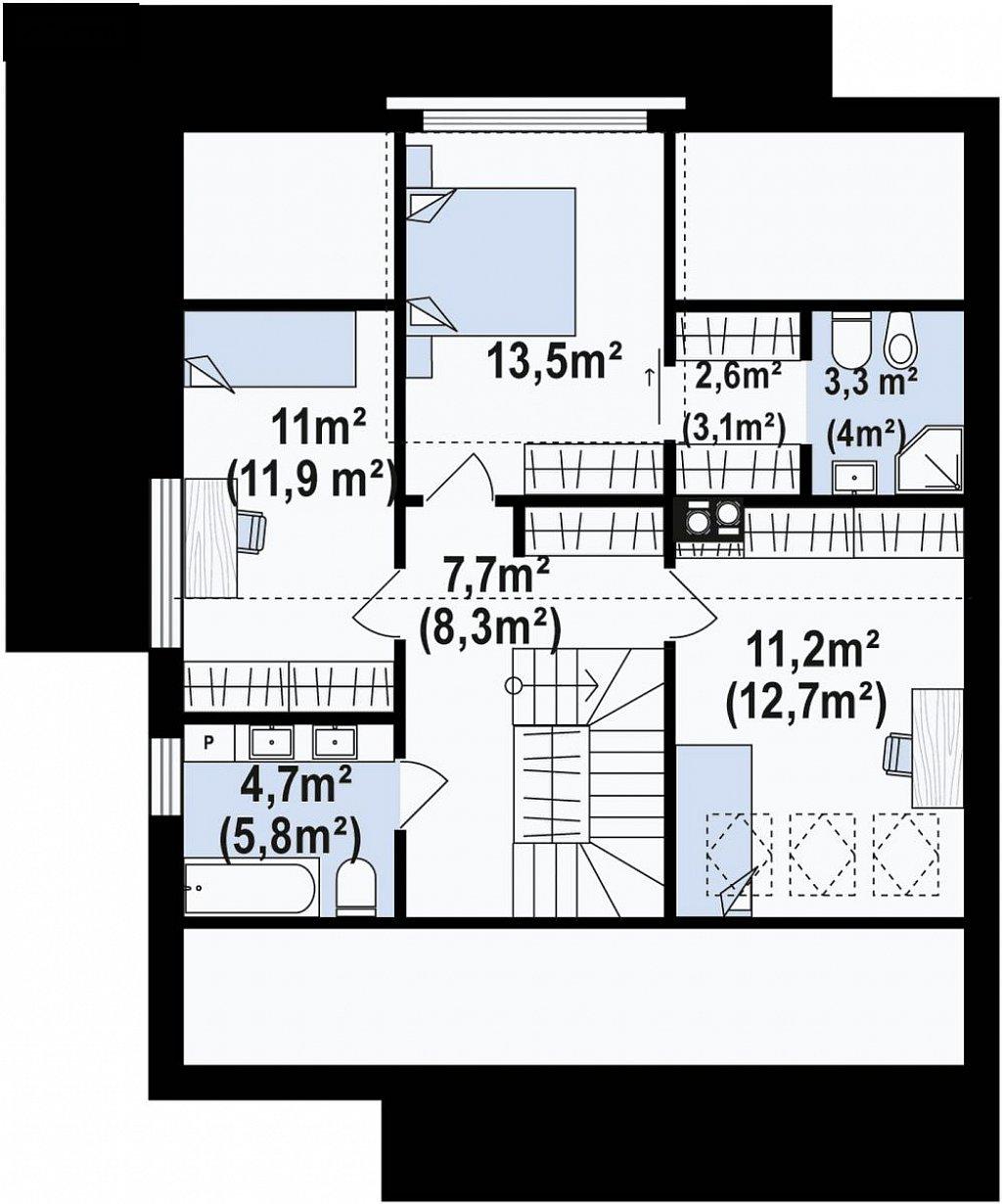 Современный двухсемейный дом с двускатной крышей план помещений 2