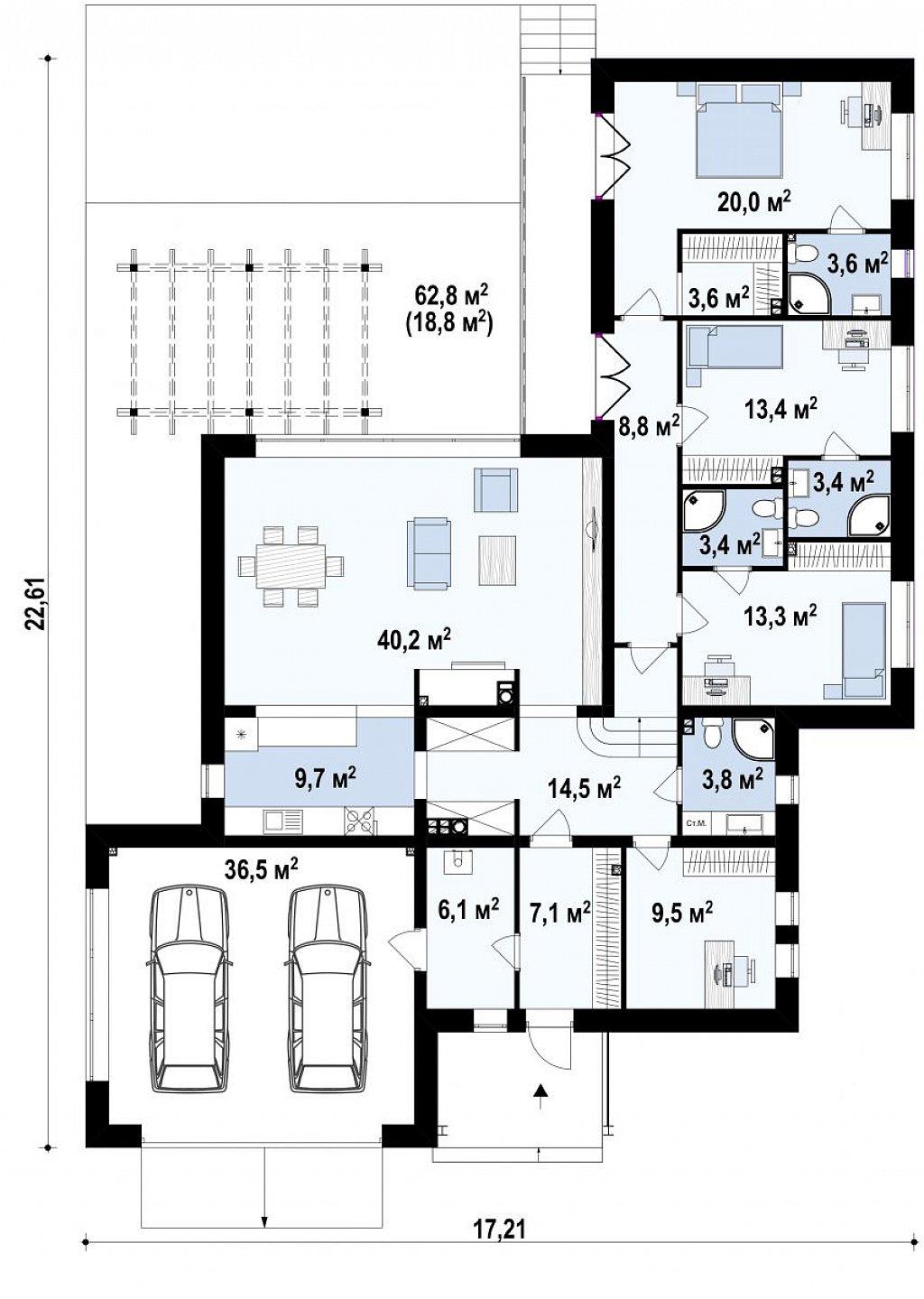 Одноэтажный дом с плоской кровлей адаптированный под строительство в сейсмических районах план помещений 1