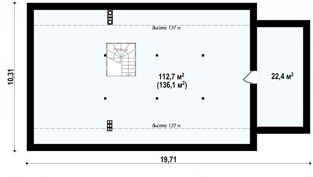 Зеркальное отображение проекта Z98 с гаражом с правой стороны план помещений 2