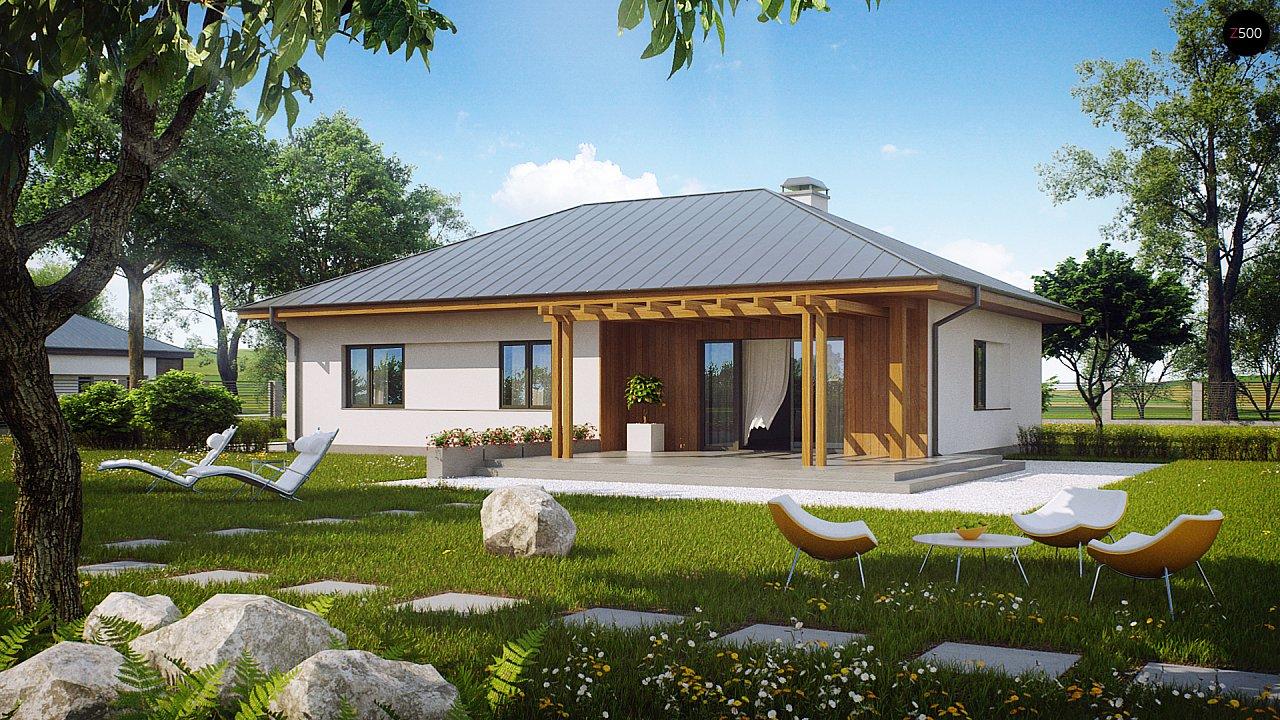 Практичный одноэтажный дом традиционной формы с многоскатной крышей. 2