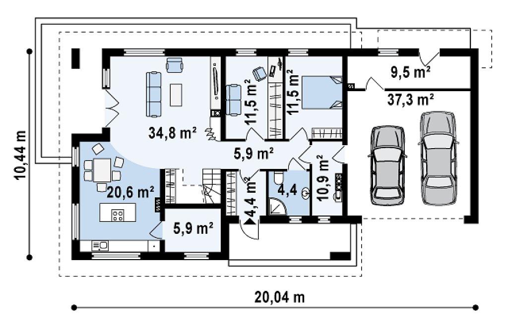 Просторный и комфортный дом со встроенным гаражом и двумя спальнями на первом этаже. план помещений 1