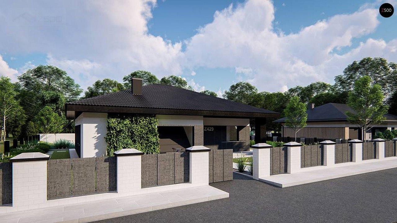 Функциональный одноэтажный дом с гаражом на одну машину, расположенный в центральной части переднего фасада. 3