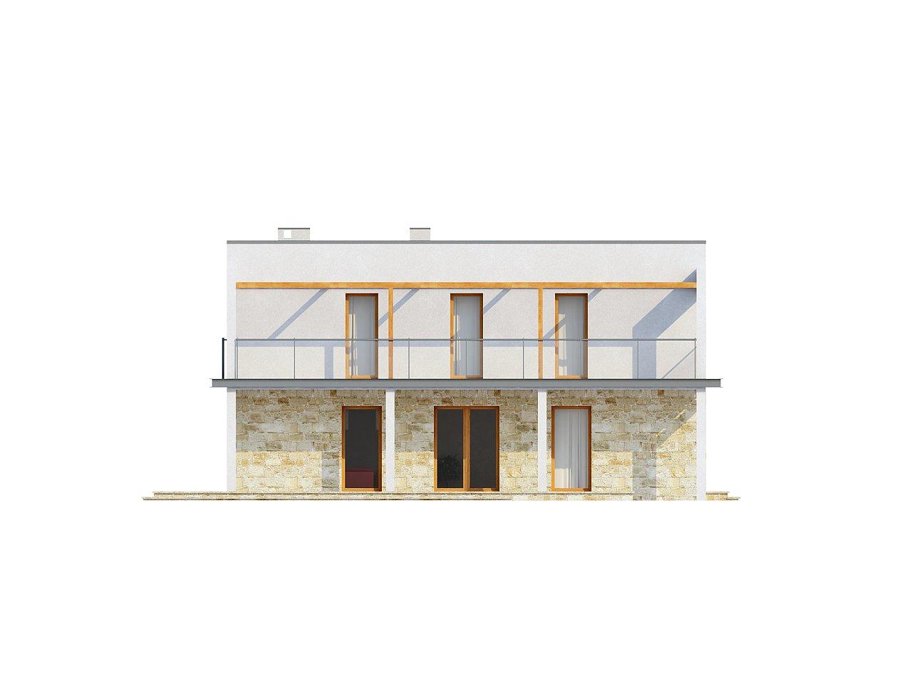 Практичный двухэтажный дом в современном стиле с обширной террасой над гаражом. - фото 6