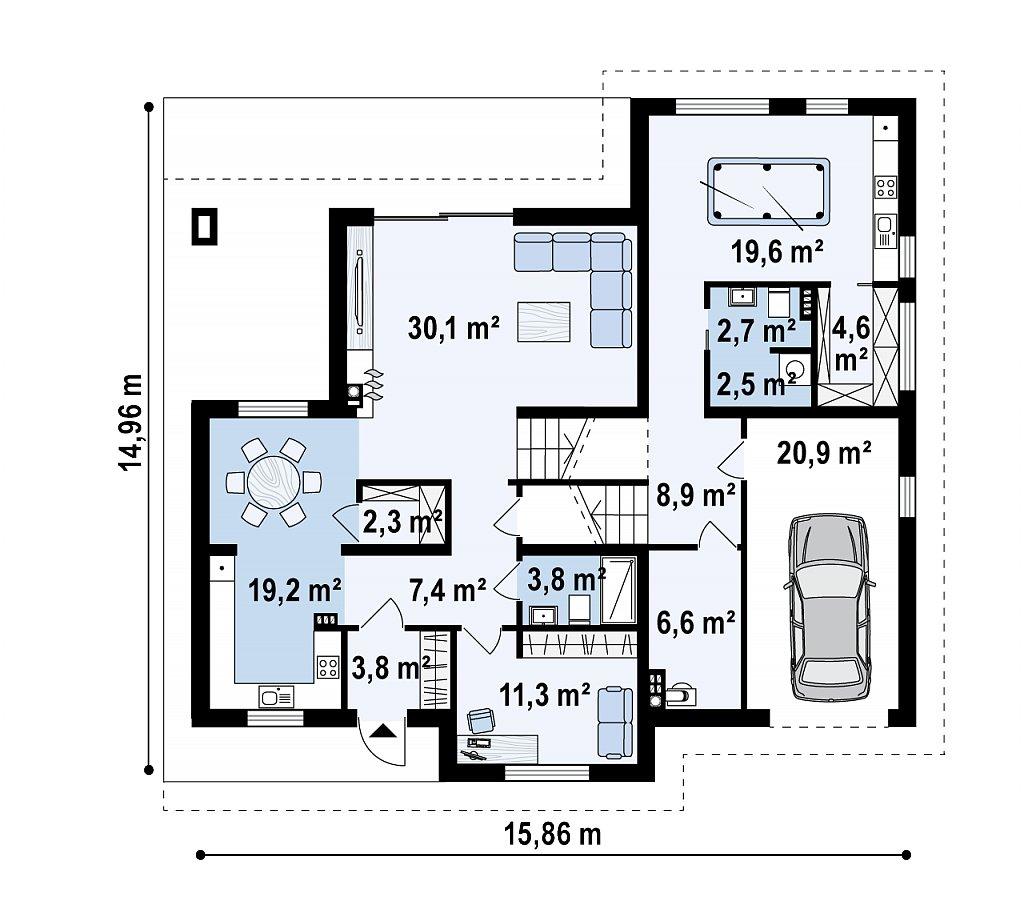Красивый и комфортный однэтажный дом с цоколем план помещений 1