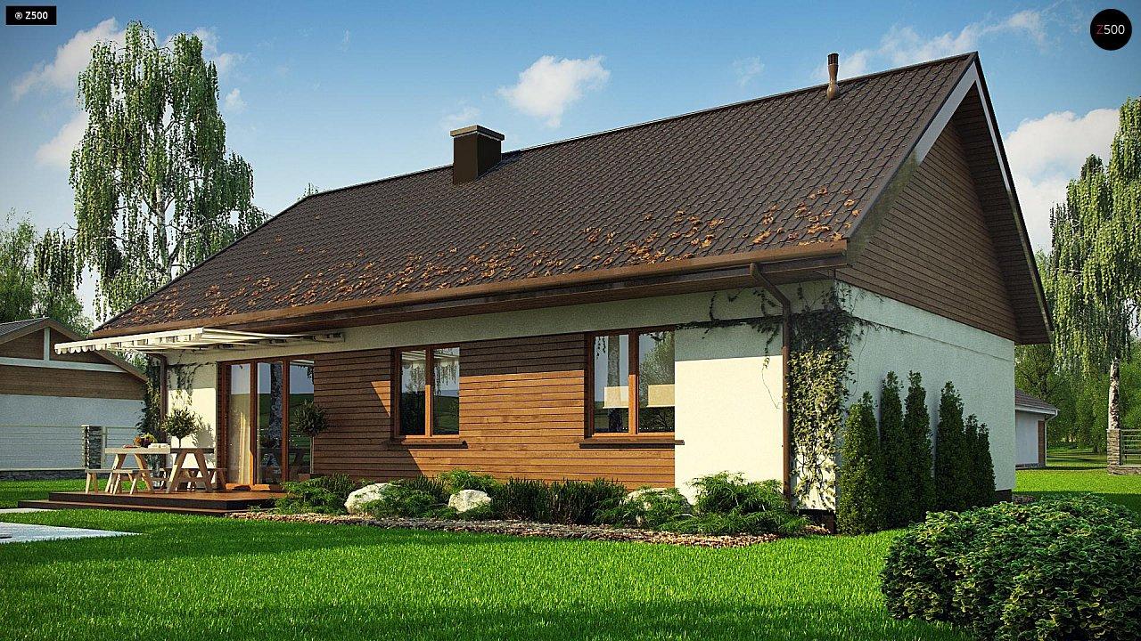 Аккуратный одноэтажный дом с деревянной отделкой на фасадах. 3