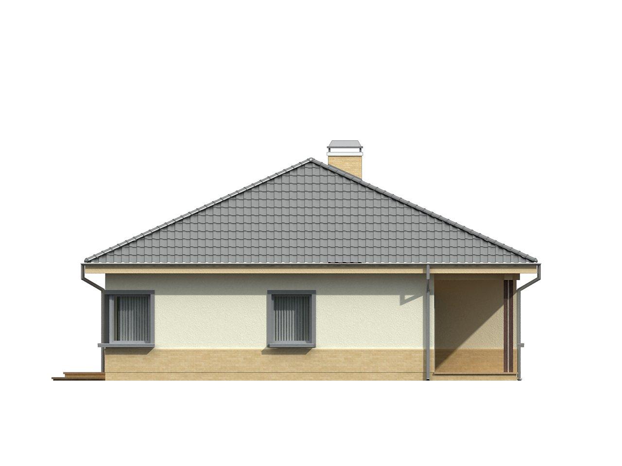 Практичный одноэтажный дом с 4-х скатной кровлей и угловым окном в кухне. 23