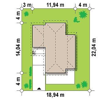 Проект удобного двухэтажного дома в стиле модерн с боковым гаражом. план помещений 1