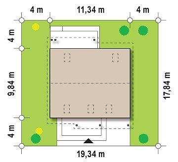 Практичный аккуратный дом с мансардой, со встроенным гаражом для одной машины. план помещений 1