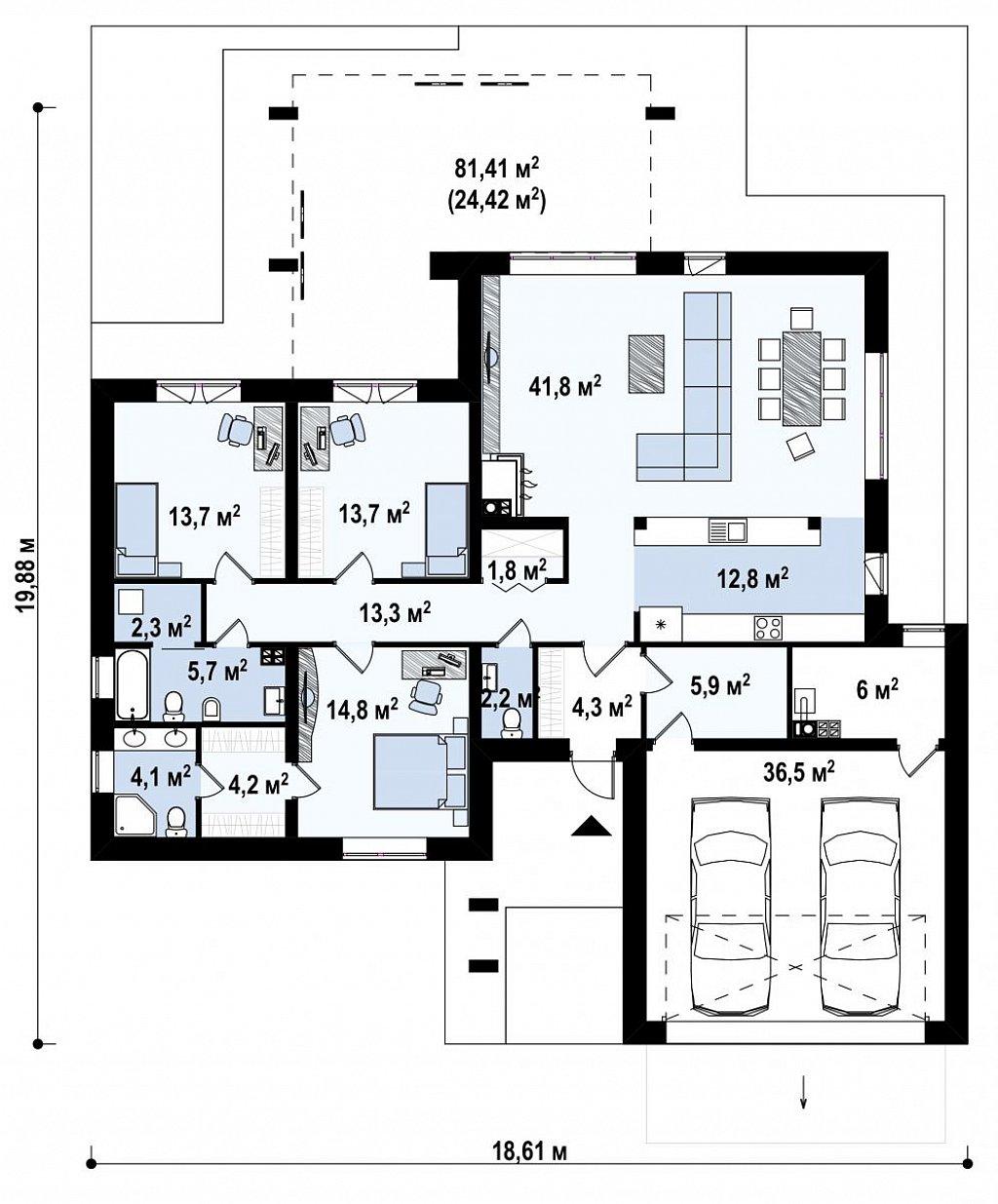 Одноэтажный дом с плоской кровлей, тремя спальнями и гаражом на две машины план помещений 1