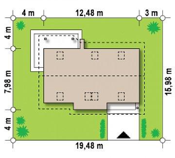 Традиционный дом простой формы с двускатной крышей, с дополнительной комнатой на первом этаже. план помещений 1