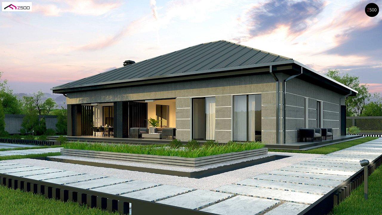 Проект дома с одноуровневой оригинальной планировкой и современным экстерьером. 5