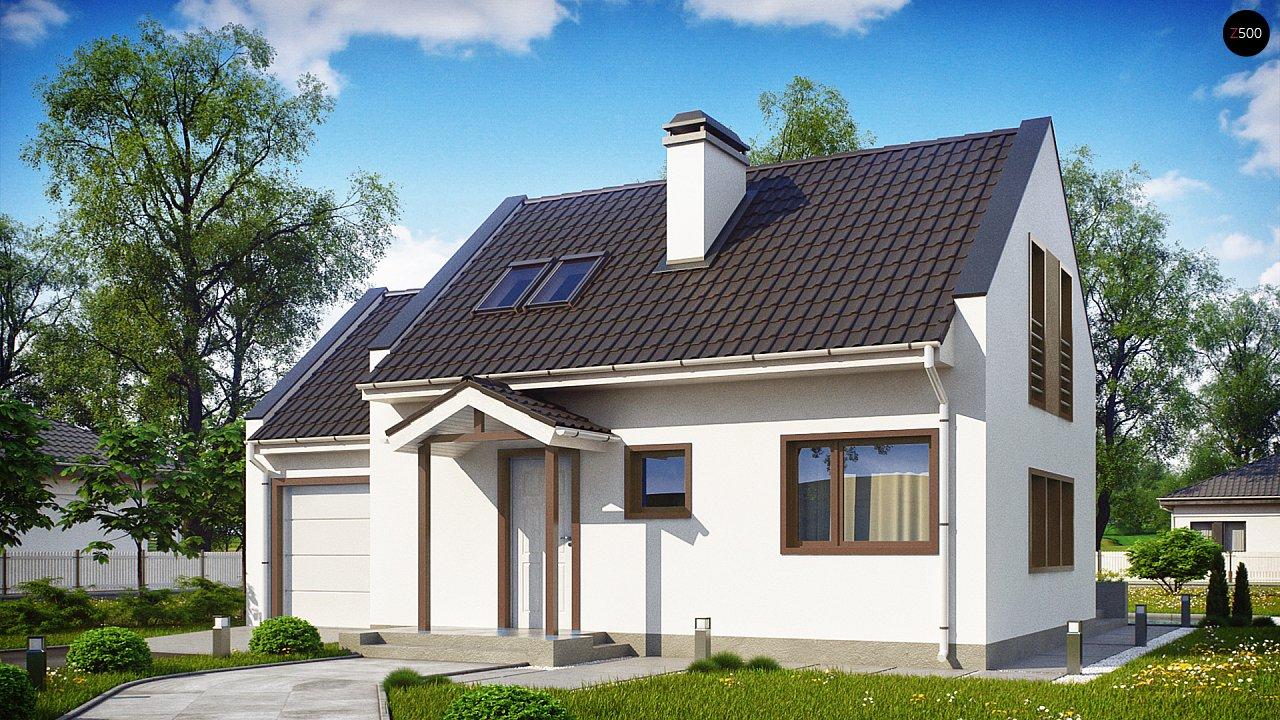 Компактный дом с гаражом для одной машины, с большими окнами в гостиной. 2