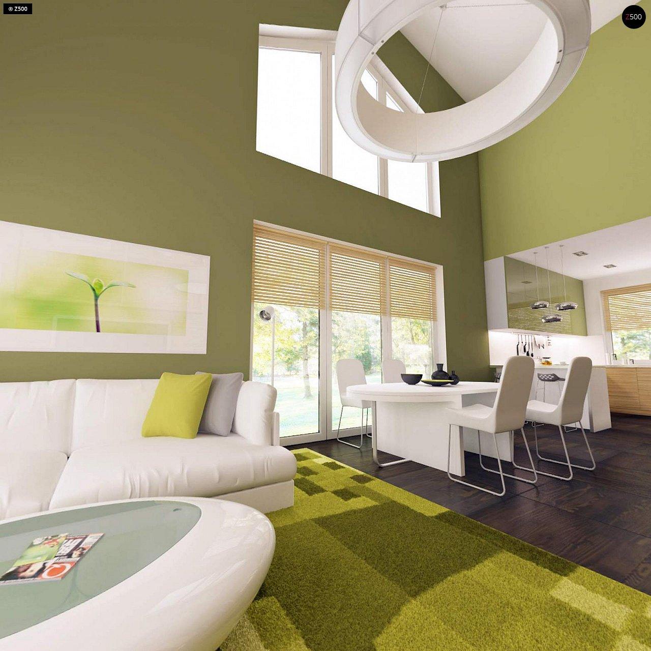 Дом традиционной формы с современными архитектурными дополнениями. Свободная планировка мансарды и антресоль над гостиной. 5