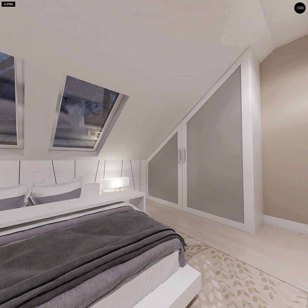 Компактный дом с мансардой, эркером в дневной зоне и c кабинетом на первом этаже. 12