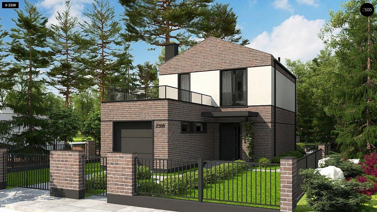 Проект компактного современного дома с двухуровневой планировкой и гаражом на один автомобиль. 2