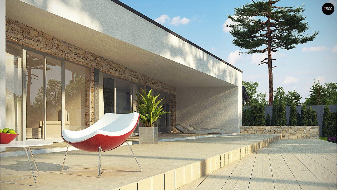 Одноэтажный коттедж с гаражом на одну машину и уютной террасой 7