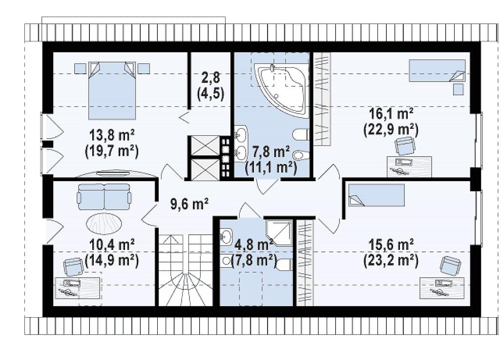 Проект двухсемейного дома с отдельной удобной «квартирой» площадью 58 м2. план помещений 2