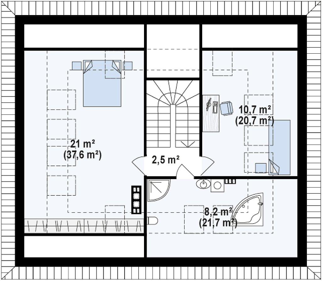Версия проекта Z273 с жилой мансардой, с увеличенной высотой аттиковой стены. план помещений 2