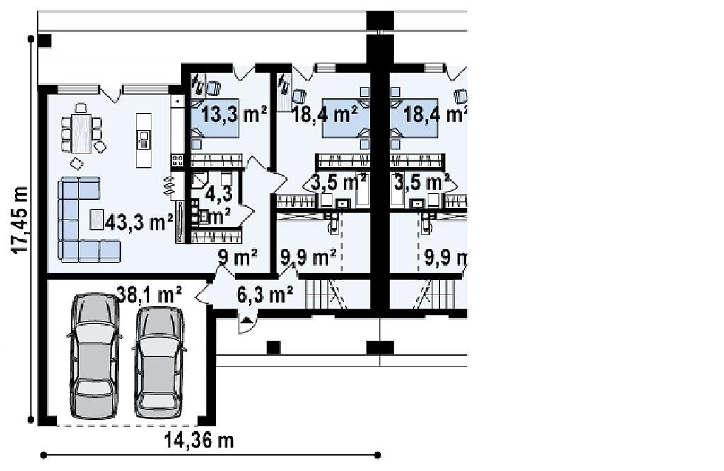 Современный проект домов-близнецов с большим гаражом и террасой на втором этаже. план помещений 1