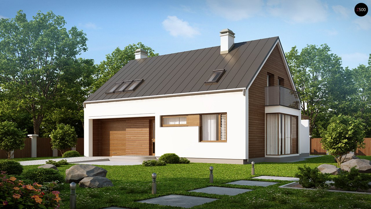Комфортный дом с гаражом простого аккуратного дизайна. 1