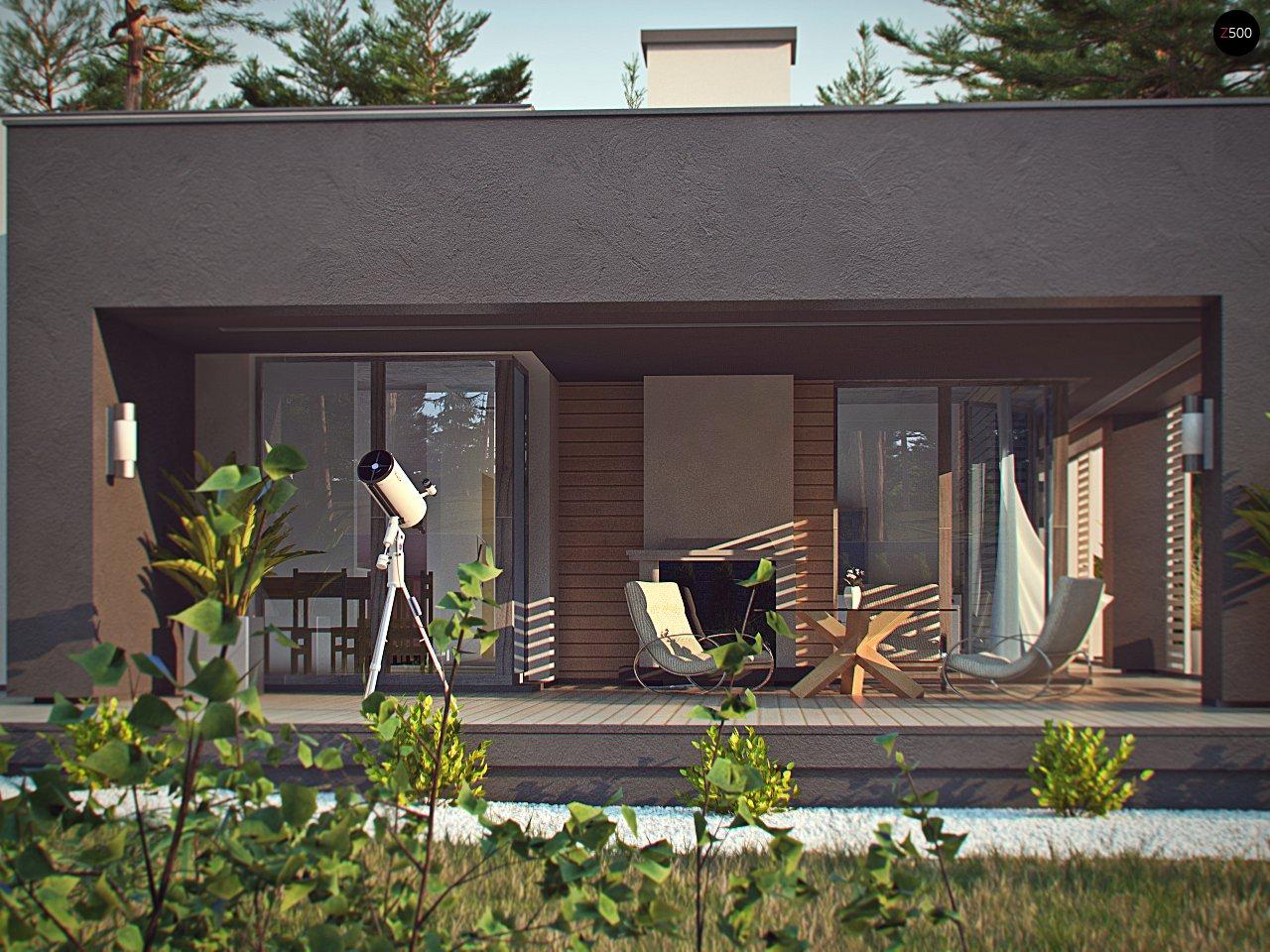 Одноэтажный дом в стиле хай-тек с плоской кровлей и большой площадью остекления. 12